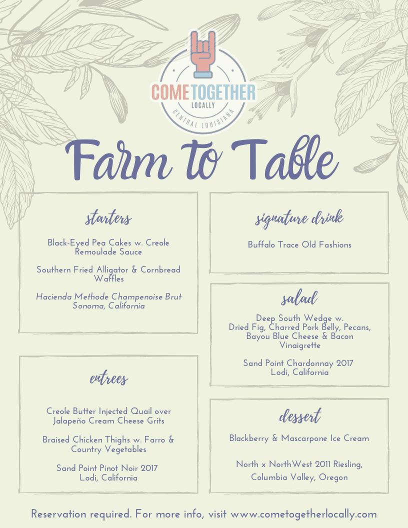 Farm to Table Menu